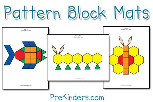 I made these pattern block mats using Photoshop. Each mat comes in color and blackline, depending on your preference. The blackline mats offer more of a challenge as children figure out which shape goes in the space. Pattern blocks teach children about shapes and geometry, as well as develop their visual discrimination skills