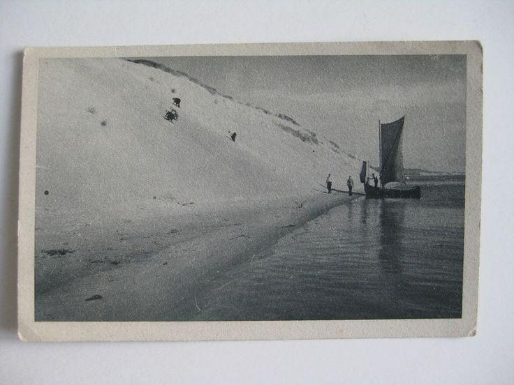 Kupfertiefdruck Karte Kurische Nehrung Dünen Segelboot Ostpreußen Königsberg alt