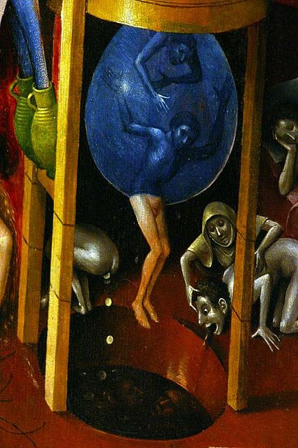 """Hieronymus Bosch (1450-1516) Detail from """"Hell"""" (right panel), Museo del Prado, Madrid."""