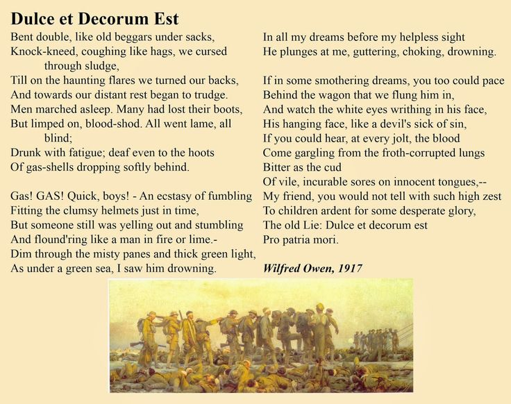 dulce et decorum est themes analysis essay Dulce et decorum est is a poem written by poet wilfred owen in 1917, during world war i, and published posthumously in 1920 owen's poem is known for its horrific imagery and condemnation of war.