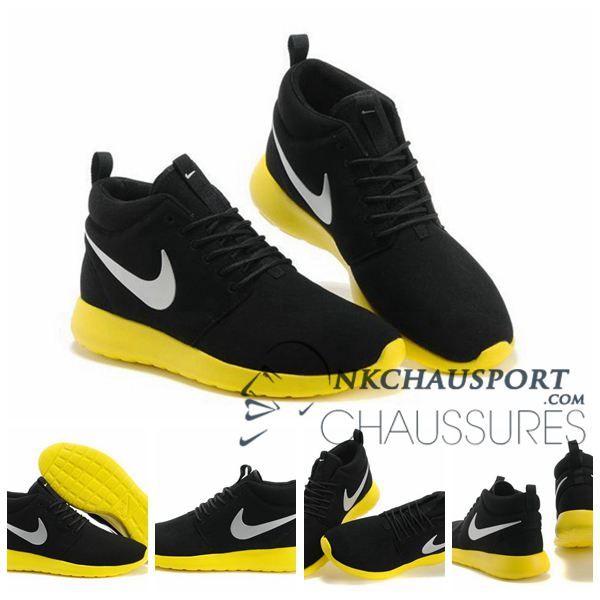Nike Roshe Run | Prix Promo Chaussure Running Sport Montante Homme Daim Noir Jaune