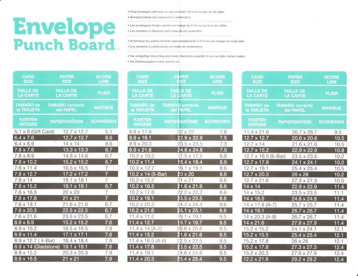Stampin' Up! Envelope punch board measurements for large cards