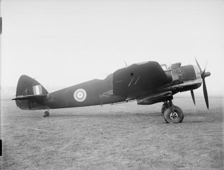 AIRCRAFT ROYAL AIR FORCE 1939-1945 BRISTOL TYPE 156 BEAUFIGHTER (ATP 10742C)   Beaufighter Mark VIF, X7883, on the ground at Filton, Bristol, following assembly at the Bristol Aeroplane Company's 'shadow' factory at Old Mixon aerodrome, near Weston-super-Mare, Somerset. X7883 has been painted in overall matt-black RDM2 night-fighter finish and is fitted with AI Mark IV aircraft interception radar.