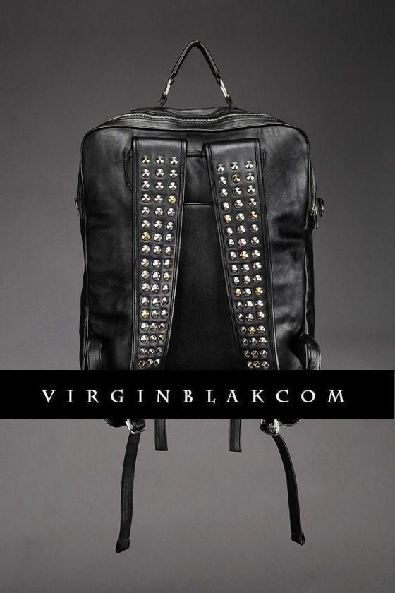 Convertible Studded Leather Backpack