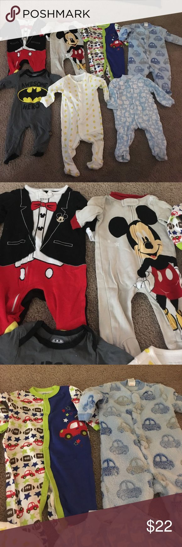 Baby Boy Bundle Baby boy bundle includes 7 footies, 12 short sleeve onesies, 1 long sleeve onesie and 1 2piece outfit. All in excellent conditions! Some brands are Carters, Disney Store, The Children's Place and Nike. One Pieces