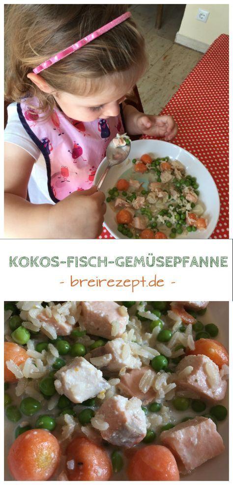 Unsere Kokons-Gemüse-Fischpfanne mit Reis und Leipziger Allerlei ist ein leckeres Mittagessen, das Kinder gern essen. Es eignet sich auch als Beikost für das Baby ab spätestens dem 10. Monat: http://www.breirezept.de/rezept_kokos-fisch-gemuesepfanne-mit-reis.html