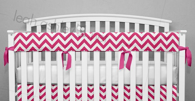 Teething Rail Cover by Leah Ashley, Custom Nursery Design, leahashley.net made in:  hot pink chevron,  hot pink,  1 long,   Teething Cover - Teething Rail Cover - Rail Cover - Teething Bumper - Crib Rail Cover - Custom Crib Bedding - Nursery Bedding - Baby Bedding - Teething