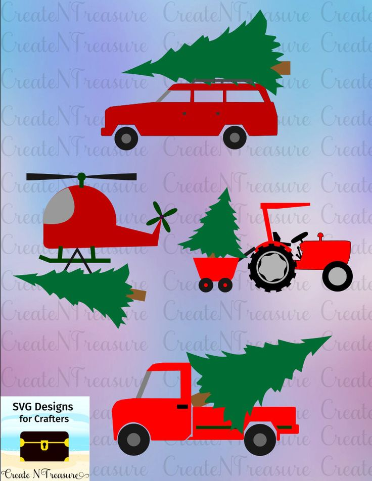Christmas Tree Tractor Truck SVG. Cutting files for Silhouette cameo or Cricut design space. Christmas Tree Delivery wagon, helicopter SVG by CreateNTreasure on Etsy