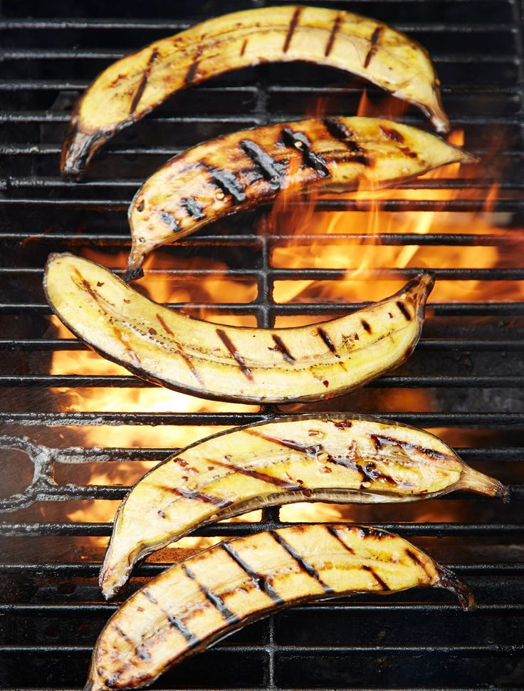 Grilled Plantains! Yellow and black plantains are sweeter and softer and need less cooking time. Yellow plantains are great for grilling.