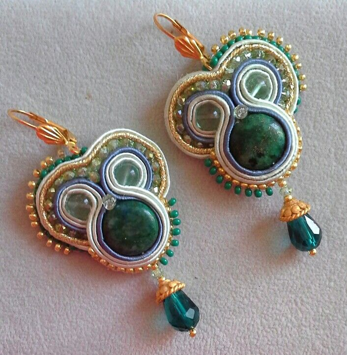 #Soutache #earrings #yuliaozmen #gold #green #blue
