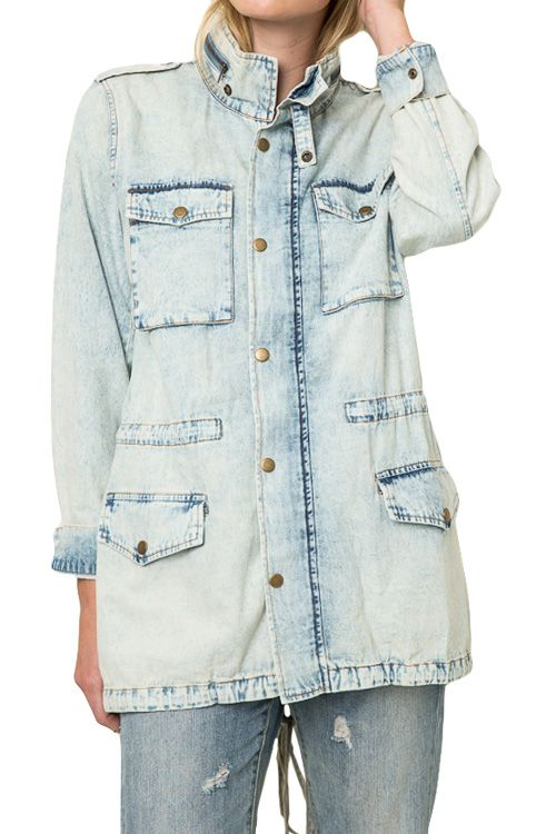 Denim Zip Up And Snap Buttons Detail Utility Jacket