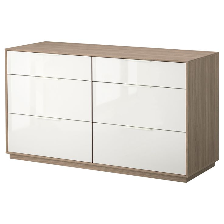 NYVOLL 6-drawer dresser - light gray/white - IKEA  wall cabinet install