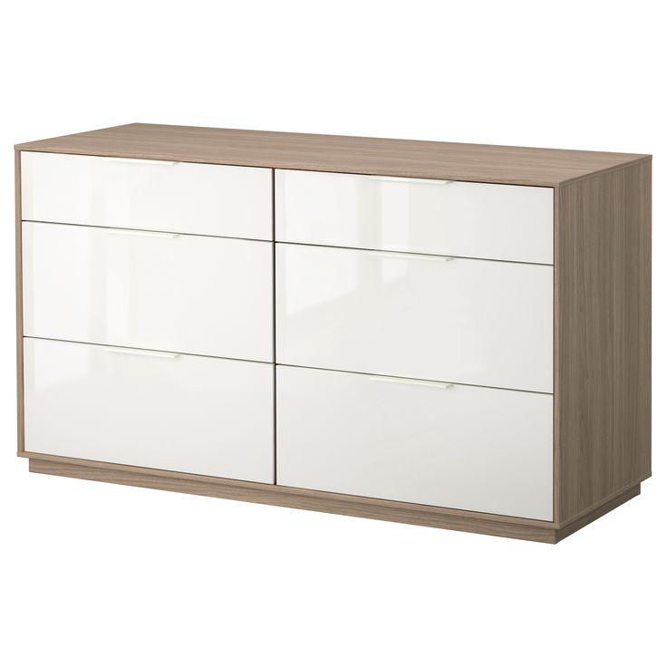 NYVOLL Cómoda 6 cajones - gris claro/blanco - IKEA