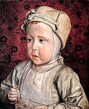 """Le dauphin Charles Orland by Jean Hey, the """"Master of Moulins"""", 1494. Charles Orlando, Dauphin of France (11 October 1492 – 16 December 1495) was the eldest son and heir of Charles VIII of France and Anne of Brittany."""