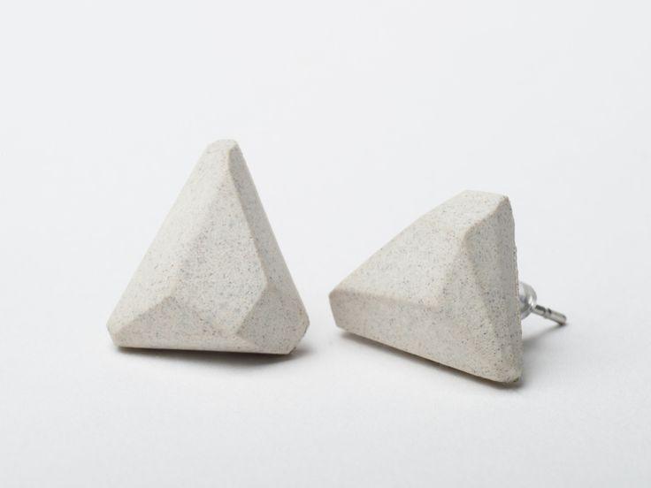 AB concrete design - GEM / white Earrings, concrete, design, gray, stone, meteor, triangle, polygon, rock, minimal, elegant