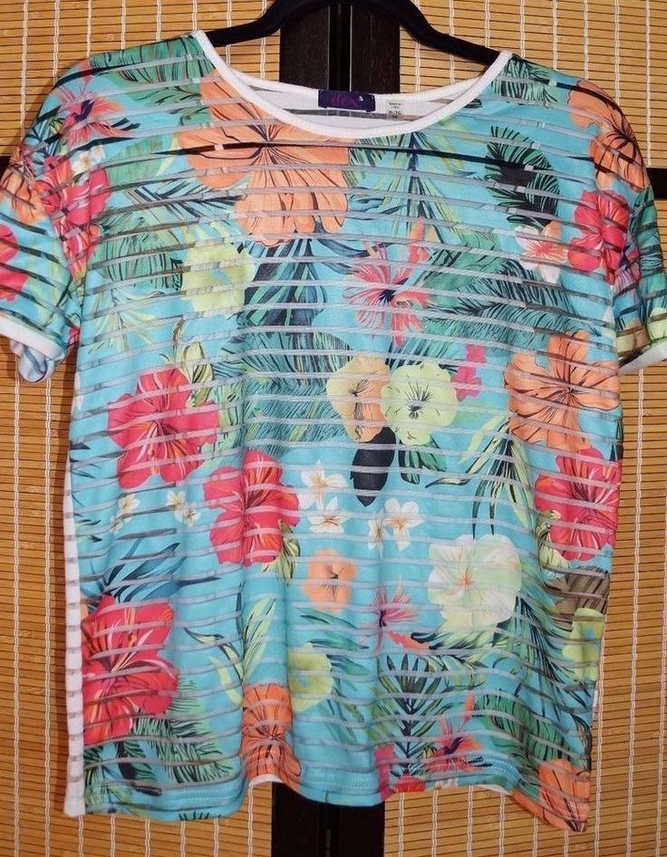 DEX size16 ladies Tropical graphic sheer print  cami shirt set | eBay
