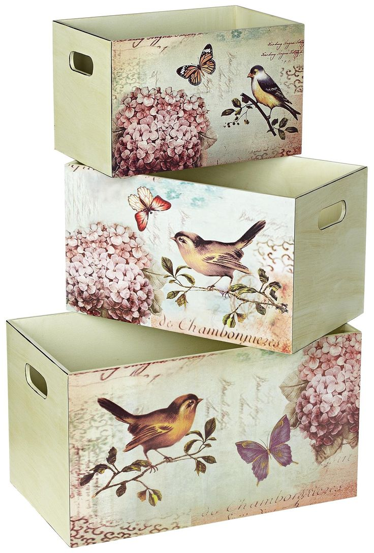 Set of 3 Bird Design Decorative Storage Boxes - con decoupage