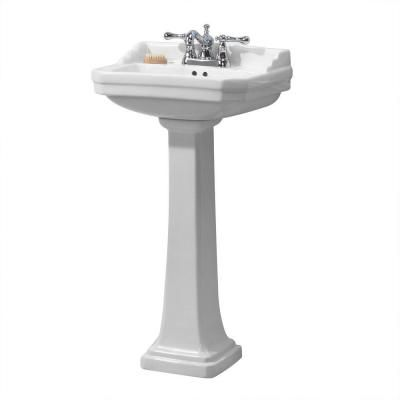 Foremost Series 1920 Pedestal Combo Bathroom Sink in White-FL-1920-4W - The Home Depot