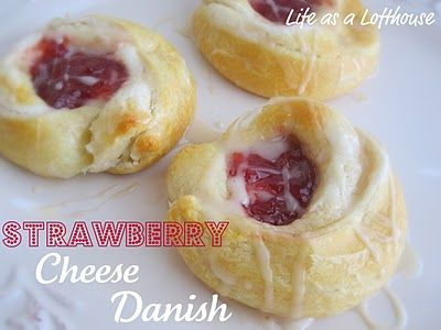 Strawberry Cheese Danish  1 tube (8 oz) refrigerated crescent rolls  4 ounces cream cheese, softened  1/4 cup sugar  2 tablespoons lemon juice  8 teaspoons Strawberry preserves