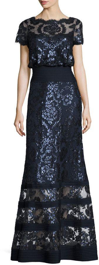 Tadashi Shoji Short-Sleeve Embellished Tulle Blouson Gown, Navy