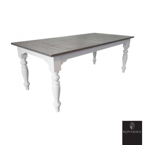 Stort og lekkert Harmoni spisebord med innleggsplate i behandlet brungrå eik. Spisebordet kombinerer lyst og mørkt på en delikat måte og fremstår meget solid!