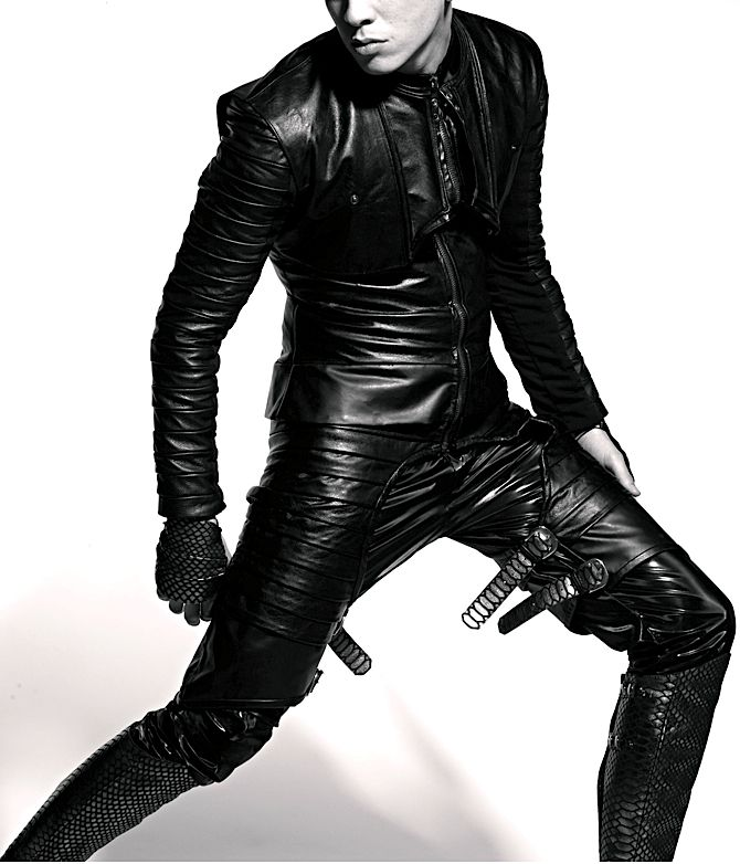 Ana Rajcevic: Black leather overall coat w vest