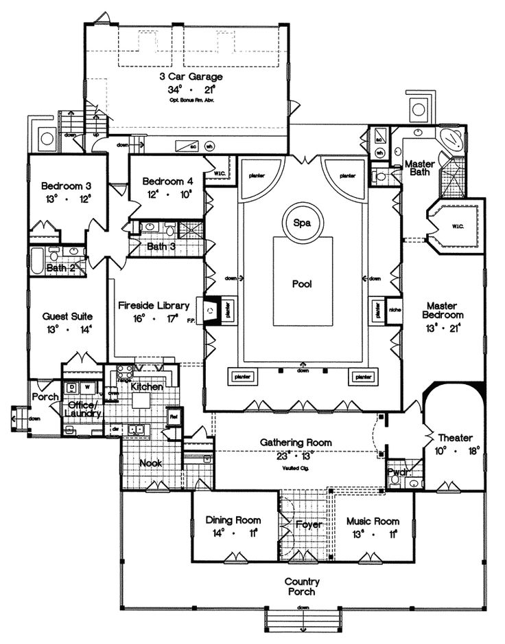 Superior Multi Family House Plans With Courtyard Part - 8: Campville Country Acadian Home. Luxury House PlansLuxury ...