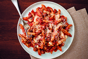 Creamy is the key word here, as sour cream and cream cheese take a tomato, marinara and ziti casserole to a whole new level of pasta deliciousness.