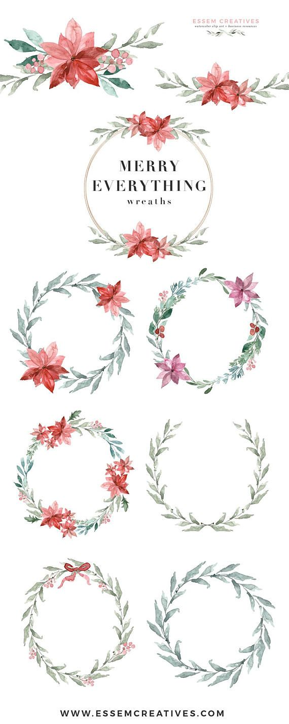 Watercolor Christmas Wreath Clipart, Poinsettia Clipart, Mistletoe clip art, Floral Holiday Card Digital Graphics, Merry Holly Winter Wreath, DIY stationery, DIY christmas social media posts, christmas cards Perfect for christmas cards, christmas party invitations, gift tags & holiday greetings. Use them for your family's holiday cards, printable wall art for you home during the holidays, to make seasonal graphics for your shop for christmas sales season and more.