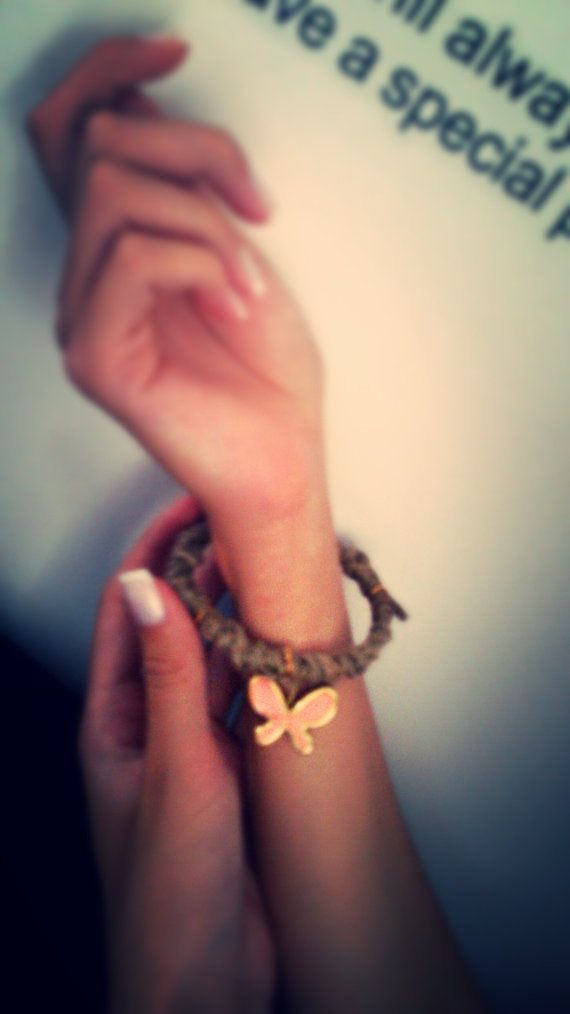 Bracelet from natural rope with pink butterfly/ by bizeli on Etsy, €6.00