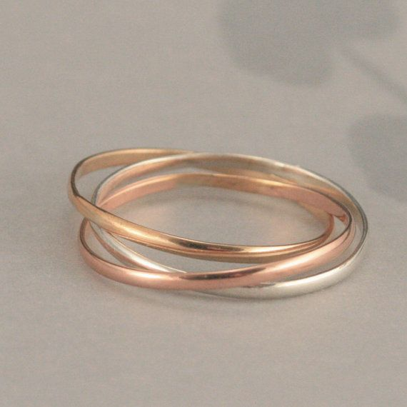 Plain Jane Super Skinny Minnie Rolling Ring in Sterling Silver, Rose Gold Filled, and Yellow Gold Filled