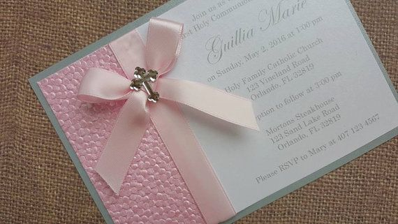 Deluxe Handmade Communion/Christening/Baptism Invitations. Each invitation has 2 layers plus pink embossed satin paper for that extra