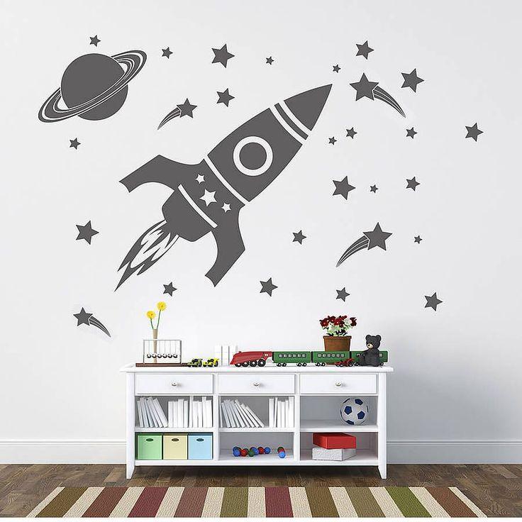 'children's space set' wall sticker by oakdene designs   notonthehighstreet.com
