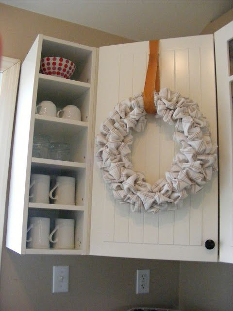 22 Easy And Creative DIY Bed Sheet Projects, Fall Wreaths From Bed Sheet: Kitchens Towels, Cupboards Doors, Corner Cabinets, Fall Wreaths, Imperfect Homemaking, Dishes Towels, Kitchens Cabinets, Complete Guide, Cabinets Doors