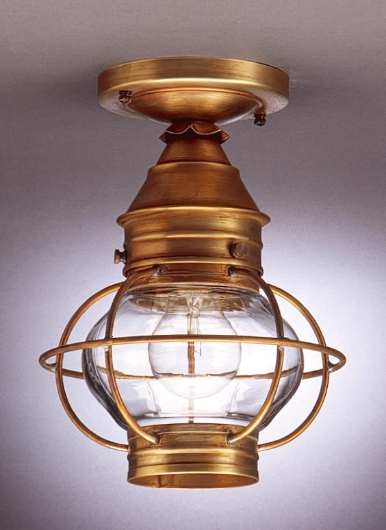Caged Onion Flush Dark Antique Brass Medium Base Socket Clear Glass : 2514-DAB-MED-CLR | Denney Lighting & Design