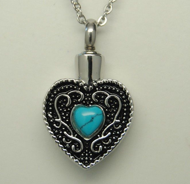 TURQUOISE URN NECKLACE HEART CREMATION JEWELRY MEMORIAL KEEPSAKE URN PENDANT  #Pendant