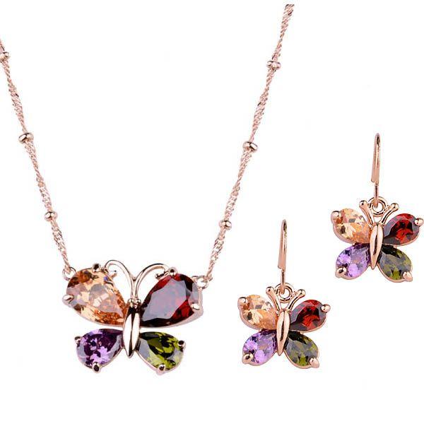 2015 рождество серебряный имитация комплект ювелирных изделий с красочными кристалл ювелирные изделия позолоченные для женщин