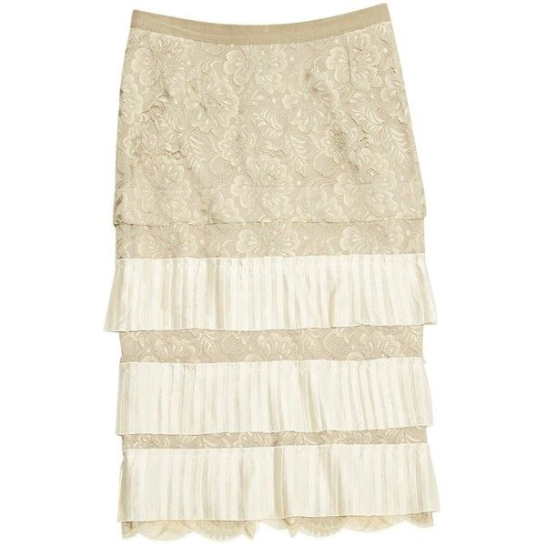 Pre-owned Dolce & Gabbana Mid-Length Skirt ($273) ❤ liked on Polyvore featuring skirts, beige, mid length skirts, brown skirt, dolce gabbana skirt, long beige skirt and long brown skirt