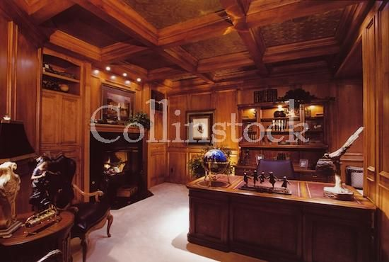 Rich Wood Paneled Study With Fireplace Office
