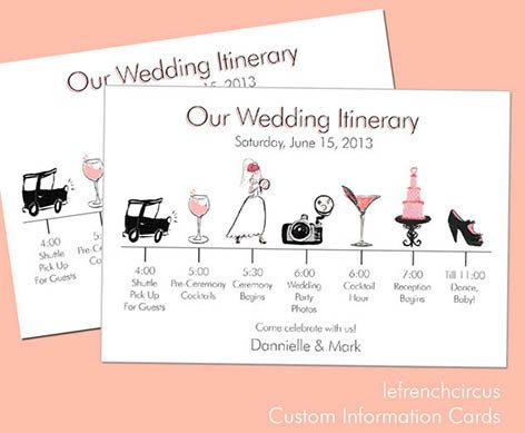 wedding timeline itinerary information card by With wedding rsvp cards timeline