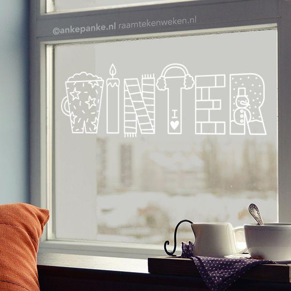 Winter letters #raamtekening ontwerp door Raamtekening.nl, gratis sjabloon te downloaden op Raamtekenweken.nl (t/m 22.12.17)