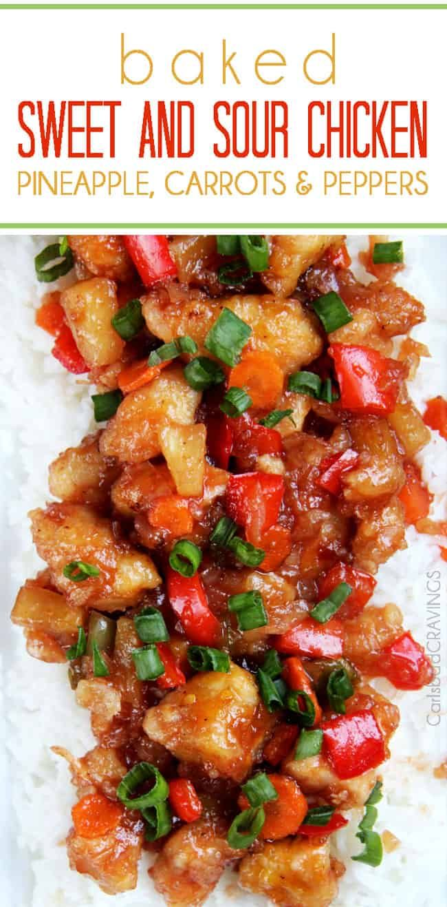 The BEST Sweet and Sour Chicken - takeout OR homemade - I have ever had in my entire life! This Sweet and Sour Chicken Recipe is also baked with pineapple, carrots, onions and bell peppers so its a complete meal-in-one with no need to stir fry extra veggies!