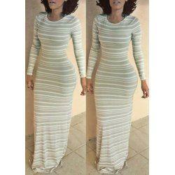 Stylish Women's Long Sleeve Scoop Neck Stripeed Pattern Bodycon Dress - Stripe - M