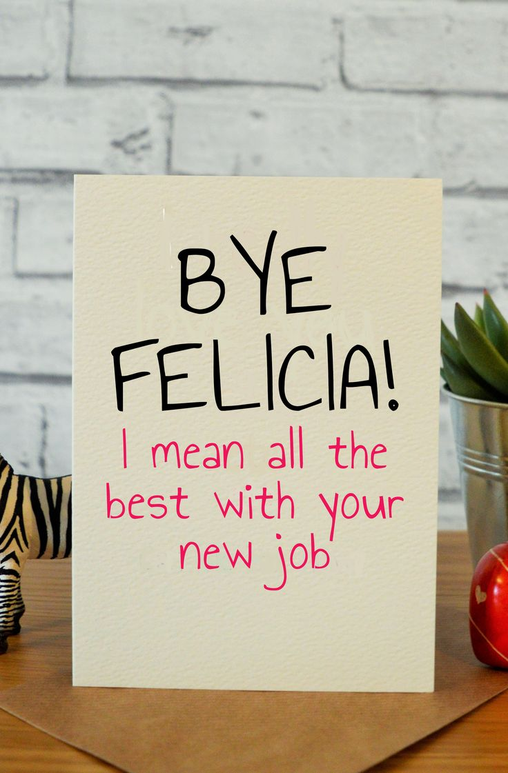 Felicia Goodbye gifts for coworkers, New job card