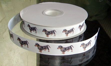 This listing is for 2 continuous yards of 7/8 wide white double faced satin/grosgrain ribbon (your choose, just memo which type youd prefer when checking out)  with beautiful Dapple Dachshund (Doxen)