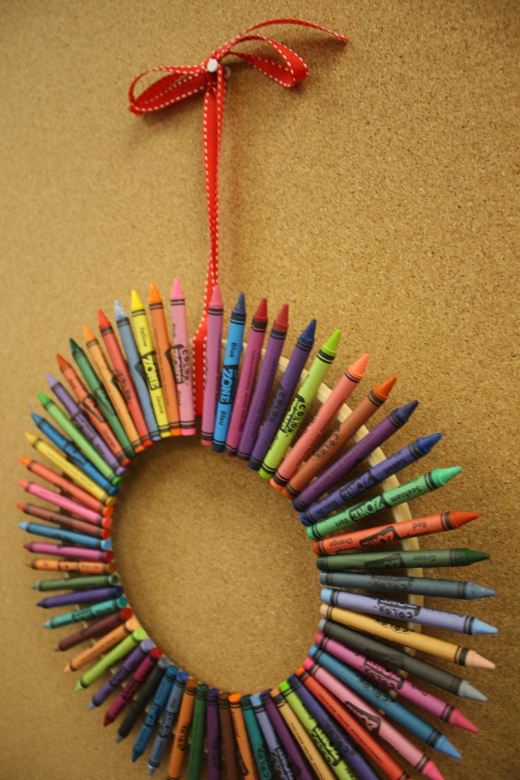 I need this for my classroom...previous dinner said...We made this for 1st grade teacher... used crayola because they looked nicer than the cheaper brand and a small and medium hoop (we painted it blue first)... took less than 36 crayons. We also made a name plate for it.