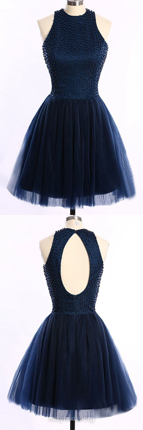 Dark Navy Homecoming Dresses,Short Cocktail Dress, Scoop Neck Party Gowns, Tulle Pearl Detailing Open Back Prom Dresses