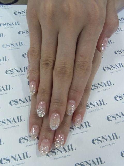 Almond nails. Glitter tips