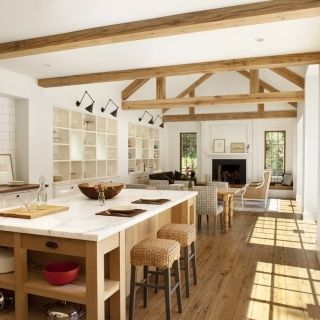 open plan kitchen dining and living area. love