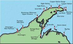 Michigan Lighthouse Map - Keewanau Penninsula, U.P.